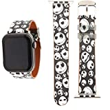 YSNUO Cartoon Cute Soft Leather for Apple iWatch Band 38mm 40mm, Black White Skull Watch Band Replacement Strap Women Men for iWatch 6 SE Series 5 4 3 2 1 + Silver Adapter
