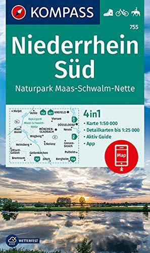 KOMPASS Wanderkarte Niederrhein Süd, Naturpark Maas-Schwalm-Nette: 4in1 Wanderkarte 1:50000 mit Aktiv Guide und Detailkarten inklusive Karte zur ... in der KOMPASS-App. Fahrradfahren. Reiten.