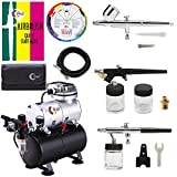 OPHIR 3-Airbrushes Dual Action & Single Action 110V Airbrush Hobby Air Brush Compressor Kit...
