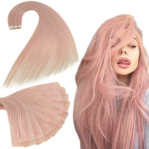 RUNATURE Extensions Real Hair Tape in 16inch Color Pink 25gram (10Pcs, 2.5g Per Piece) Invisible Human Hair Extension for Women