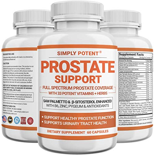 Prostate Supplements for Men, Saw Palmetto Prostate Health Support Enhanced with 33 Vitamins & Herbs – Beta Sitosterol Plus B6, Zinc, Selenium for Healthy Urination Frequency & Flow, Libido & Sleep
