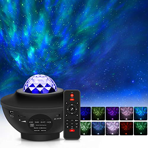 Star Projector Night Light Projector, VEIPAO 3 in 1 Laser Projector Ocean Wave Projector LED Nebula Cloud Light with Bluetooth Music Speaker for Baby Adult Bedroom Decoration, Voice & Remote Control