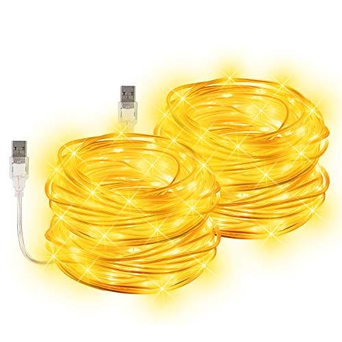 LED Guirnaldas Luces Exterior, ALED LIGHT 20 Metros(2x10m) USB 5V Guirnaldas de Luces para Jardín IP68 Impermeable Guirnalda Luces 200 LEDs Cadena de Luces para Patio,Decoracion,Navidad(Blanco Cálido)