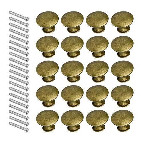 litulituhallo Tiradores redondos de latón con tornillo para cocina, baño, 20 unidades