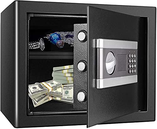 TOPQSC Caja de Seguridad Caja de Seguridad Para Documentos Gabinete de Seguridad, Caja Fuerte Con Contraseña Electrónica a Prueba de Fuego e Impermeable Todo de Acero