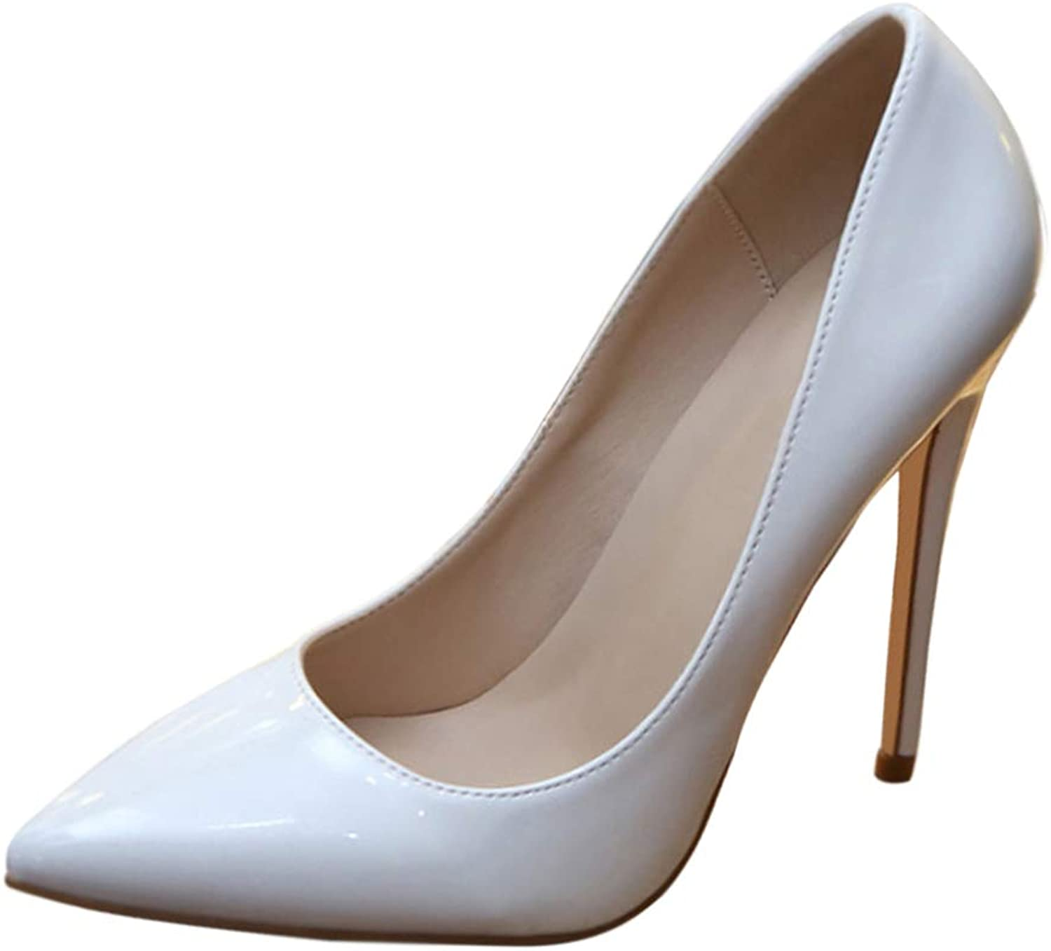 Uirend Elegant Wedding Stiletto - Womens Formal Court shoes Pointed Toe Patent Leather Slip On Evening Pump shoes Stilettos Size