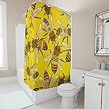 Sweet Luck Gelb Biene Duschvorhang Anti-Schimmel Wasserdicht Waschbar Stoff Duschvorhänge Polyester Textil Badvorhänge mit Duschvorhangringen für Badezimmer White 180x200cm