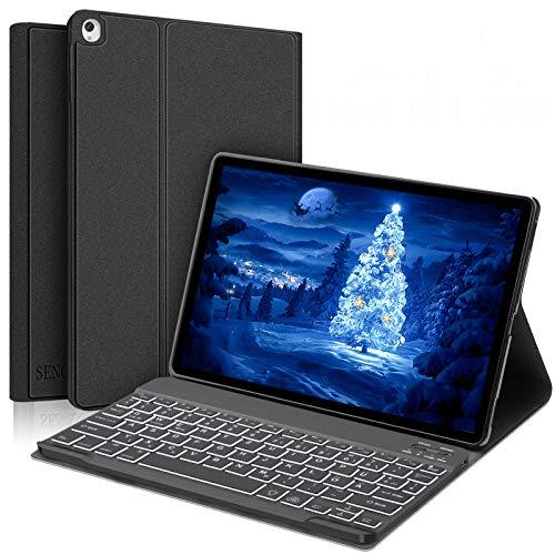 SENGBIRCH Samsung Galaxy Tab A 10.1 2019 Tastatur Hülle, Auto Schlaf/Aufwachen Hülle mit Hinterleuchtet Bluetooth Tastatur für Galaxy Tab a T510 und T515 - Schwarz