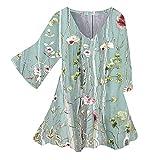 Zldhxyf Camiseta de lino para mujer, cuello en V, camiseta de verano, informal, holgada, cuello en V, verde, XXL