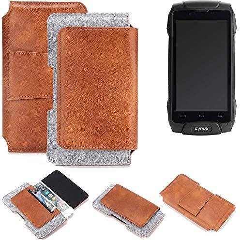 K-S-Trade® Schutz Hülle Für Cyrus CS 30 Gürteltasche Gürtel Tasche Schutzhülle Handy Smartphone Tasche Handyhülle PU + Filz, Braun (1x)