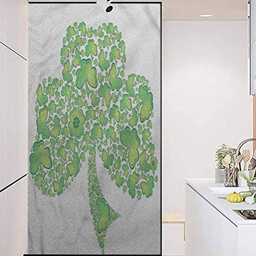 wonderr Static Cling Stained Glass Film Stained Glass Window Sticker, Celtic Irish Shamrock Clover Figure, Static Glass Film for Bathroom Office Meeting Room Living Room, W23.6xH78.7 Inch