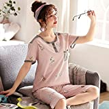 DFDLNL Frauen Pyjama Sets Sommer 100% Baumwolle Kurzarm Pyjamas Homewear Tier Hund Nachtwäsche...