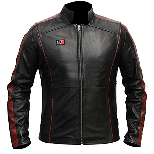 STB-Fashions Herren Superheldenkostüm Lederjacken Kollektion Gr. Medium, N7 Mass Effect Jacke.