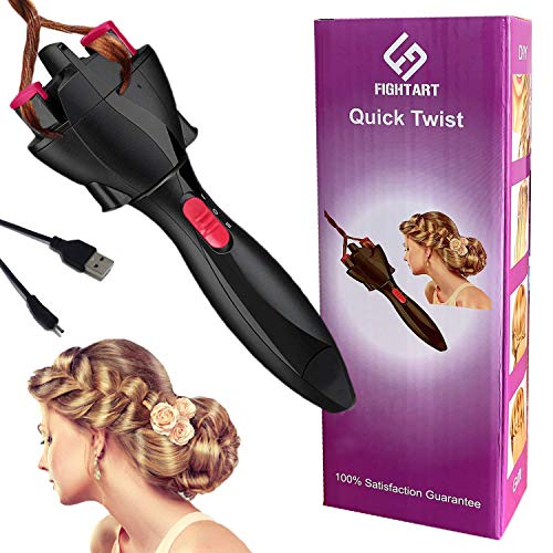 FIGHTART Automatic Hair Braider Hair Twister USB Electric Braiding Machine DIY Magic Roller Styling Tool Styler Bun Maker (Not include the batteries) Gift Idea