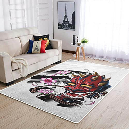 Tobgreatey Alfombra japonesa Oni de perfil bajo para suelos duros, color blanco, 50 x 80 cm