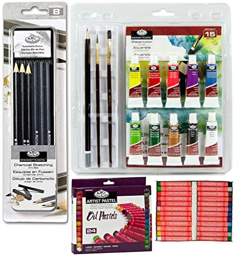 Mal- und Skizzen-Set für Holzkohle, Pastellfarben, Ölfarben und Aquarellfarben