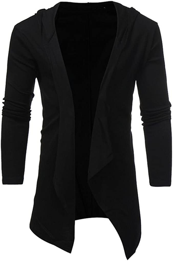BCDshop Men's Slim Fit Solid Shawl Collar Open Front Coat Outwear Hooded Blouse Tops