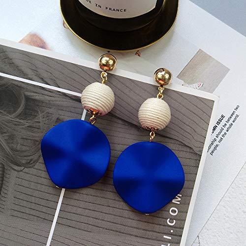 GRGFG Pendientes De Gota para Mujer,Pendientes Colgantes Circulares Geométricos Azules Simples Anillo De Aro Ligero Hipoalergénico Pendientes De Joyería Circular para Mujeres Niñas Fiesta Boda Regalo