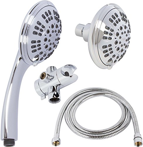 6 Function Dual Shower Head Combo - High Pressure, Adjustable Handheld & Fixed Showerheads With Hose & Diverter And Double Removable Rainfall Spray Heads, 2.5 GPM - Chrome