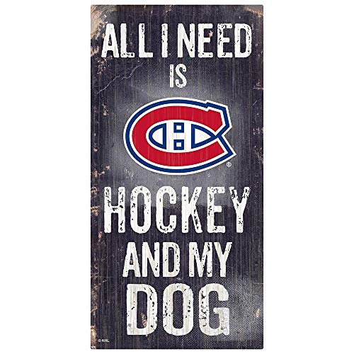 NHL Montreal Canadiens Unisex Montreal Canadiens Hockey and My Dog Sign, Team Color, 6 x 12