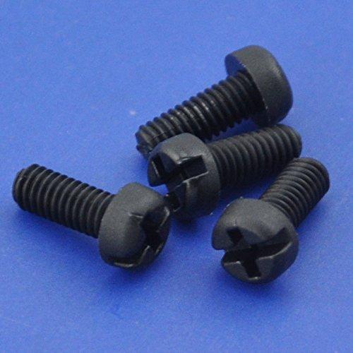 Electronics-Salon 10pcs M4 x 10 mm Vis à tête Phillips/à fente en nylon noir.