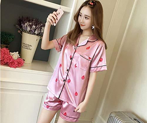 ZLAHY Pyjama's,Vrouwen sexy nachtkleding zomer casual zijde satijn knop korte mouw nachtkleding shirt broek dames pyjama sets 4xl 5xl, roze, xxl