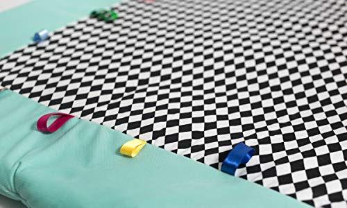 Sango Trade Tapis pour enfant dès les premiers mois de vie doux et douillet avec rubans colorés pour jouer à l'enrouler, tapis pour parc (diamants noirs)