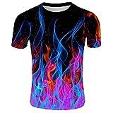Qinhanjia Herren Sommer T-Shirt mit Rundhalsausschnitt Kurzarm Blau Flamme 3D Gedruckt Top, Herren 3D Gedrucktes Kurzarm T-Shirt