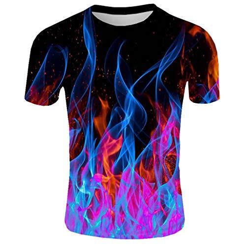 ODRD HOT SALE Herren T Shirts, Oversize Shortsleeve Herren New Summer T-Shirt mit Rundhalsausschnitt Kurzarm Blue Flame 3D Printed Top Vintage Jugend Blouse Tops Basic Shirt Clearance Sale