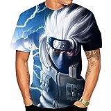Camisetas,Ninja Sasuke Anime Camiseta Estampada De Manga Corta para Hombre Cuello Redondo Cómodo Suave Unisex Color 4 Azul XXS