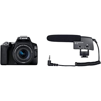 Canon EOS 200D II 24.1MP Digital SLR Camera + EF-S 18-55mm is STM Lens + EF-S 55-250mm is STM Lens (Black) + Sennheiser MKE 400 Shotgun Microphone (Black)