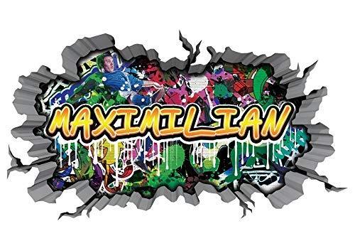 3D Wandtattoo Graffiti Wand Aufkleber Name MAXIMILIAN Wanddurchbruch sticker selbstklebend Wandbild Wandsticker Jungenddeko Kinderzimmer 11U045, Wandbild Größe F:ca. 47x25cm