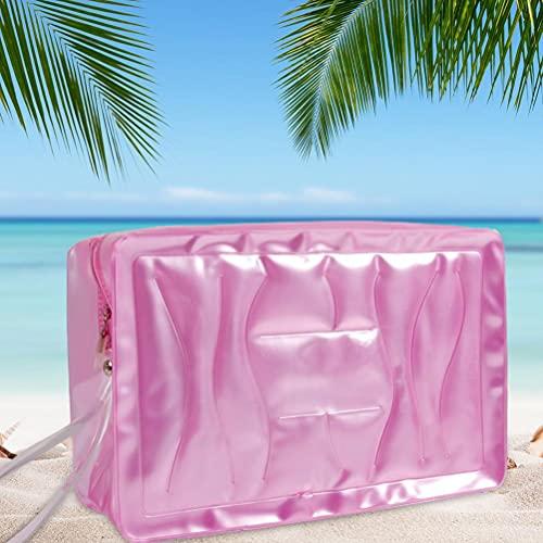 Jsdufs Bolsa de cosméticos para Mujer Bolsa de Maquillaje de Viaje Bolsa organizadora de Maquillaje Grande Bolsa de Transporte de PVC Bolsa de Playa con Bolsillos con Cremallera para cosméticos