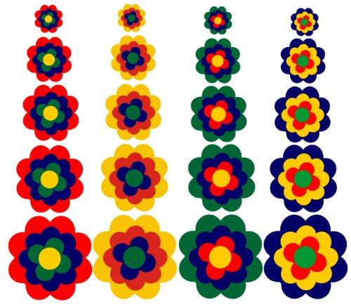 WERBUNGkreativ Aufkleber Autoaufkleber Fliesenaufkleber Wandtattoo Blumen ähnlich Prilblumen Retroblume 20er Set