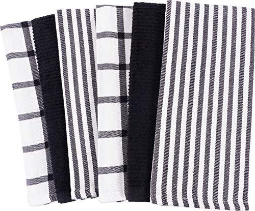 Mixed Flat & Terry Kitchen Towels | Two Sets of 3 18 x 28 Inches | 4 Flat Weave Towels for Cooking and Drying Dishes and 2 Terry Towels, for House Cleaning and Tackling Messes and Spills (Black)