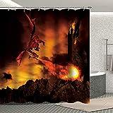 Fuortia Drachen Duschvorhang Game of Thrones Badezimmer Vorhang mit Haken Gruseliger Feuer Drachen Zerstörung Schloss Stoff Badezimmer Vorhang-Sets Badezimmer Dekoration 177 x 177 cm
