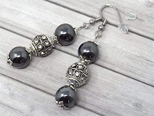 Pendientes de acero inoxidable con perlas negras hematites, y perlas con cristales