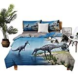 4 Bedding Cover Set Toddler Sheets mejoroom Bed Sheets Large Fish is Caught by A Suchomimus Dinosaur Flying Pterosaur Dinosaur high Density Weaving Process Blue and Green W104 xL90