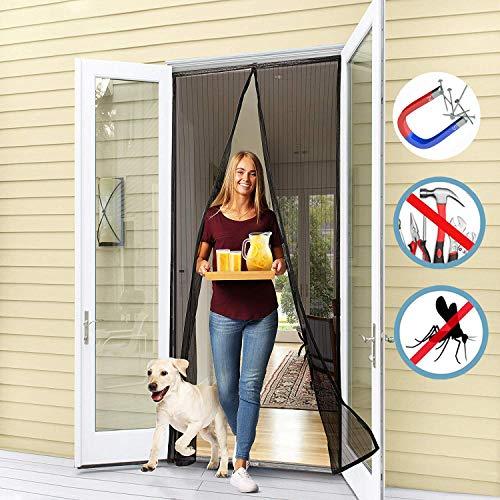 WISKEO Mosquitera Puerta Corredera Grande Magnetica Varios Tamaños Cortina Adhesiva Protección contra Mosquitos Pantalla FáCil de Instalar Sala De Estar Correderas - Negro 130x200CM