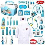Buyger 35 pièces Déguisement de Docteur Jouet Costume Cosplay Jeu d'imitation Mallette Medecin Outils Médical Cadeau pour Enfant Fille Garçon (Bleu)
