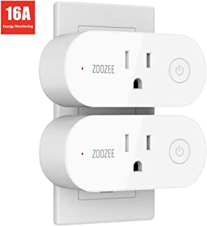 Smart Plug Wifi Outlet Compatible With Alexa, Google Home and IFTTT, ZOOZEE Mini Smart Socket with Energy Monitoring and Timer Function, No Hub Required, 16A(2 PACK)