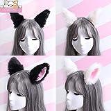 Sweet Lovely Anime Lolita Cosplay Fantasía Neko Cat Ears Pinza de pelo blanca con rosa para niñas (Color : Black+Pink)