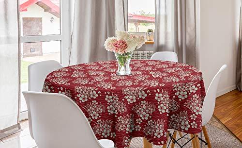 ABAKUHAUS Kirschblüte Runde Tischdecke, Ballen Heu, Kreis Tischdecke Abdeckung für Esszimmer Küche Dekoration, 150 cm, Ruby und Eggshell