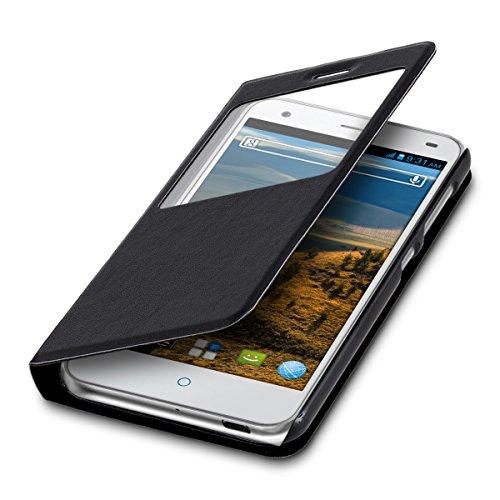 kwmobile Flip Hülle Hülle für ZTE Blade S6 4G LTE mit Fenster - Aufklappbare Tasche Schutzhülle im Flip Cover Style in Schwarz