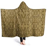 Golden Heart Manta con Capucha de Grano de Madera Cómoda Manta antiestática Microplush Usable cálido Hogar con Capucha Impresión 3D Albornoz Cómoda Manta con Capucha