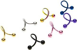 Niome 2 Pcs S Spiral Twist Circular Barbell Nose Ball Lip Rings Set Ear Cartilage Helix Piercing Pierced Punk Sexy Body Piercing Jewelry Random Color