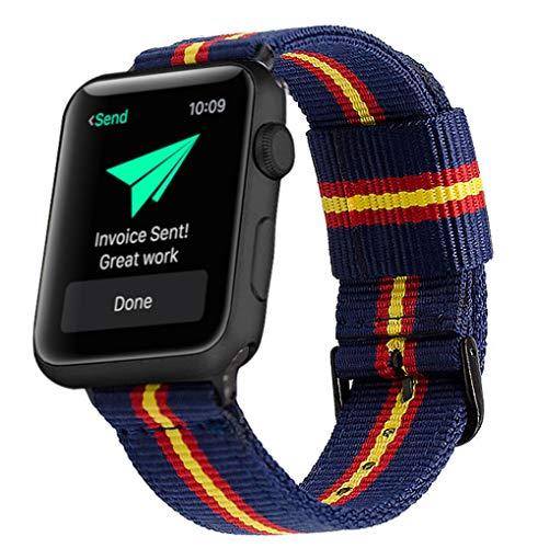 Estuyoya - Pulsera de Nailon Compatible con Apple Watch Colores Bandera de España, Ajustable Reemplazo Estilo Deportiva Casual Elegante para 42mm 44mm Series 6/5 / 4/3 / 2/1 / SE - OTAN