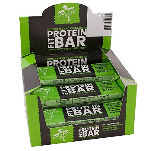 Protein FIT BAR di Avicenna | 100% Naturale | Ricco di proteine | Ricco di energia | Senza soia | Senza glutine | Senza latticini |, Cioccolato e Sale Marino, 12 x 52g