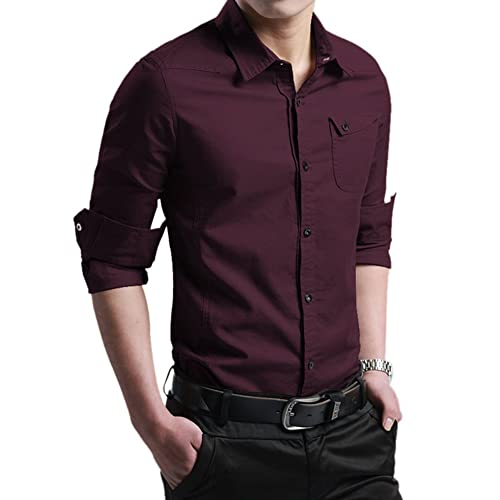 104169c69b Xtapan mens casual slim fit shirt cotton long sleeve button down dress shirt  jpg 500x500 Dark