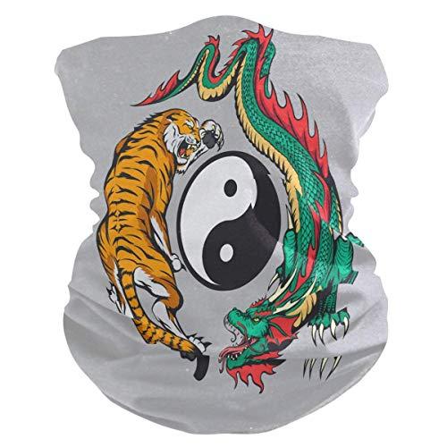 Dragon Tiger Yin Yang Bandana Cou Écharpe Guêtre Visage Masque Anti-Poussière Bandeaux Multifonctionnels Bandeau pour Sport Yoga Course à pied Cyclisme Randonnée